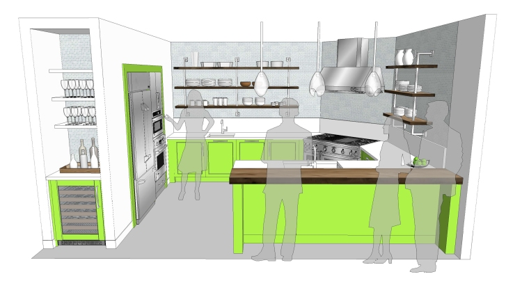 """The """"Green with Envy"""" design incorporates a Monogram range, French door built-in refrigerator, oven with Advantium Speedcook technology, two dishwashers, compact refrigerator unit, wall oven and professional range hood."""