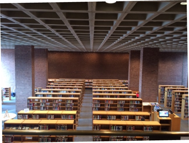Coffered ceiling inside the Cleo Rogers Memorial Library in Columbus, Indiana