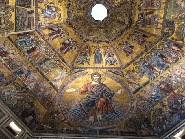 Battistero di San Giovanni in Florence. This baptistery has a mosaic ceiling dating back to 1225 depicting many stories of the bible. Absolutely jaw dropping!