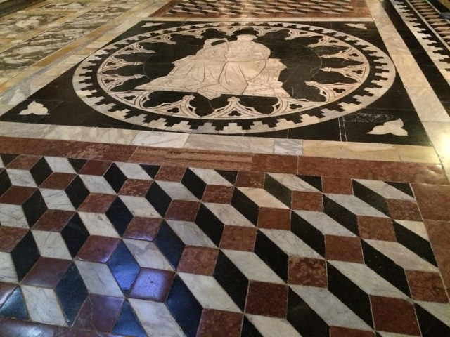 Doumo di Siena. The mosaic floors are covered for 10 months of the year, but a friend pointed out that we would be there during the unveiling. Fantastic!