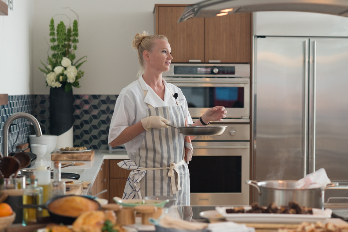 Chef Hayley Christopher in the Monogram Modern home kitchen in Boston, Massachuetts
