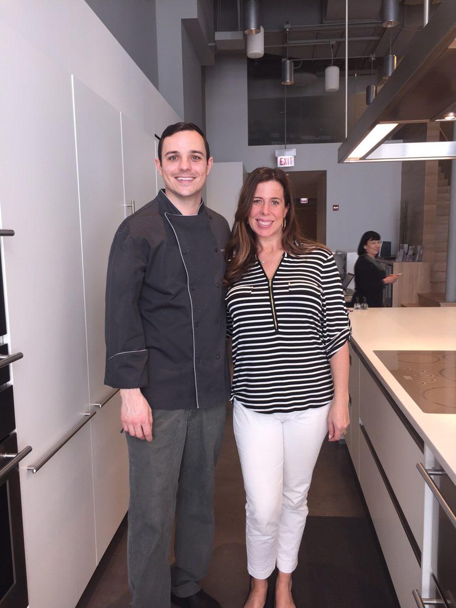 Kitchen Design Network's Ashley Nolan with Chef Jon at the Chicago Monogram Design Center